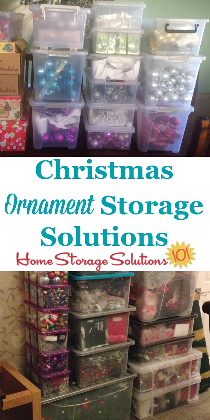 Lots of Christmas ornament storage solutions and ideas, including both DIY and product recommendations, and for fragile, oversized and unusually shaped ornaments {on Home Storage Solutions 101} #HolidayStorage #ChristmasStorage #OrnamentStorage