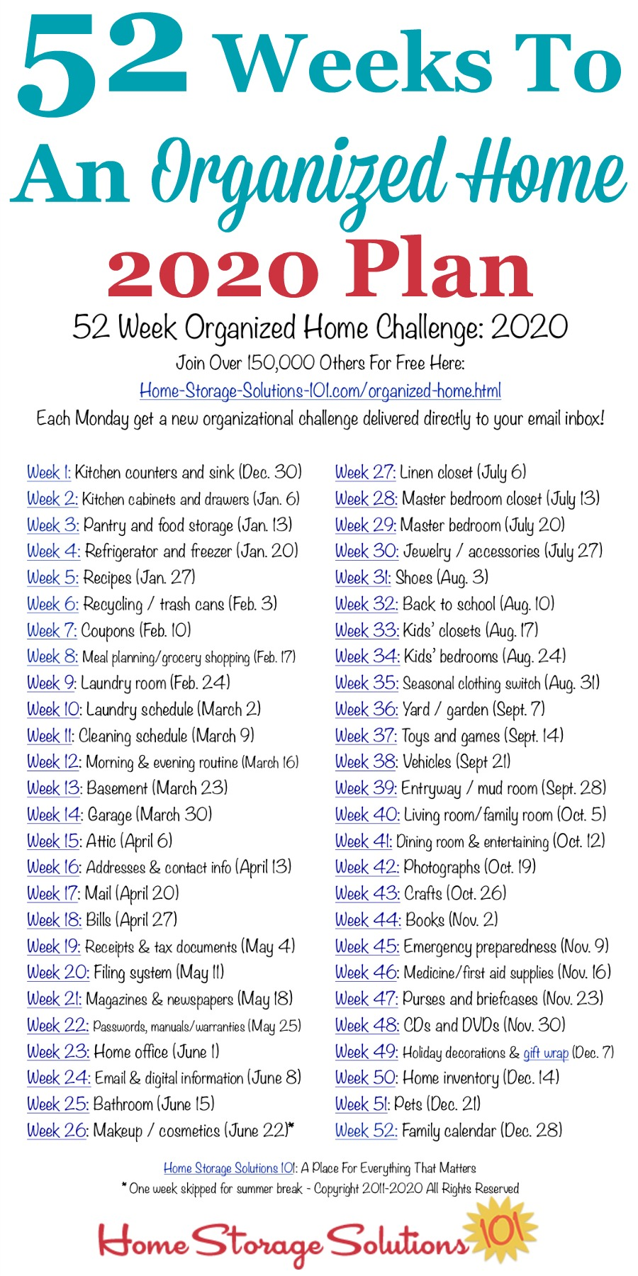 52 Weeks To An Organized Home Join The Weekly Challenges