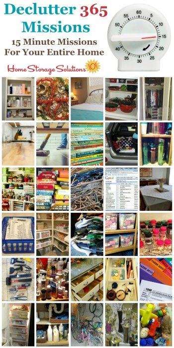 Join the free Declutter 365 missions to get a plan for how to declutter your entire house over the course of the year, 15 minutes at a time. These missions deal with all rooms of your home, lots of types of common objects we all have, and even has missions for digital clutter! {on Home Storage Solutions 101} #Declutter365 #Decluttering #Declutter