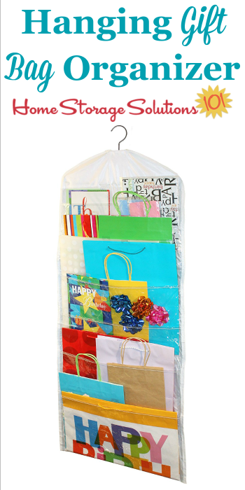 This hanging gift bag organizer can hang in your closet to keep your gift bags easily accessible without taking up lots of room {featured on Home Storage Solutions 101} #ChristmasStorage #HolidayStorage #GiftBagOrganizer