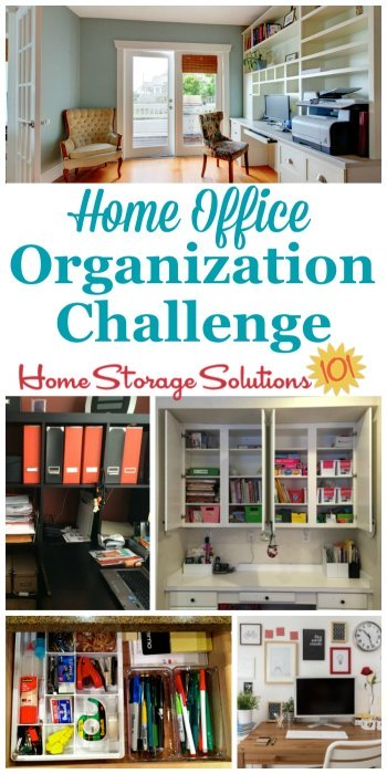 Step by step instructions for home office organization, including organizing home office supplies, desk area, cords, equipment and more {a #52WeekOrganizedHomeChallenge on Home Storage Solutions 101} #HomeOfficeOrganization #OrganizeHomeOffice
