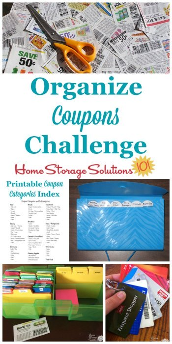 Step by step instructions for how to #organize #coupons, as well as tips for other ways to save money by organizing items like loyalty and gift cards, stockpiles and more {part of the 52 Week Organized Home Challenge on Home Storage Solutions 101} #OrganizedHome