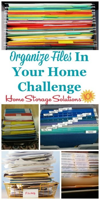 How to organize files and create a home filing system to keep all of the household paperwork organized {part of the 52 Week Organized Home Challenge on Home Storage Solutions 101} #OrganizeFiles #HomeFilingSystem #OrganizedHome