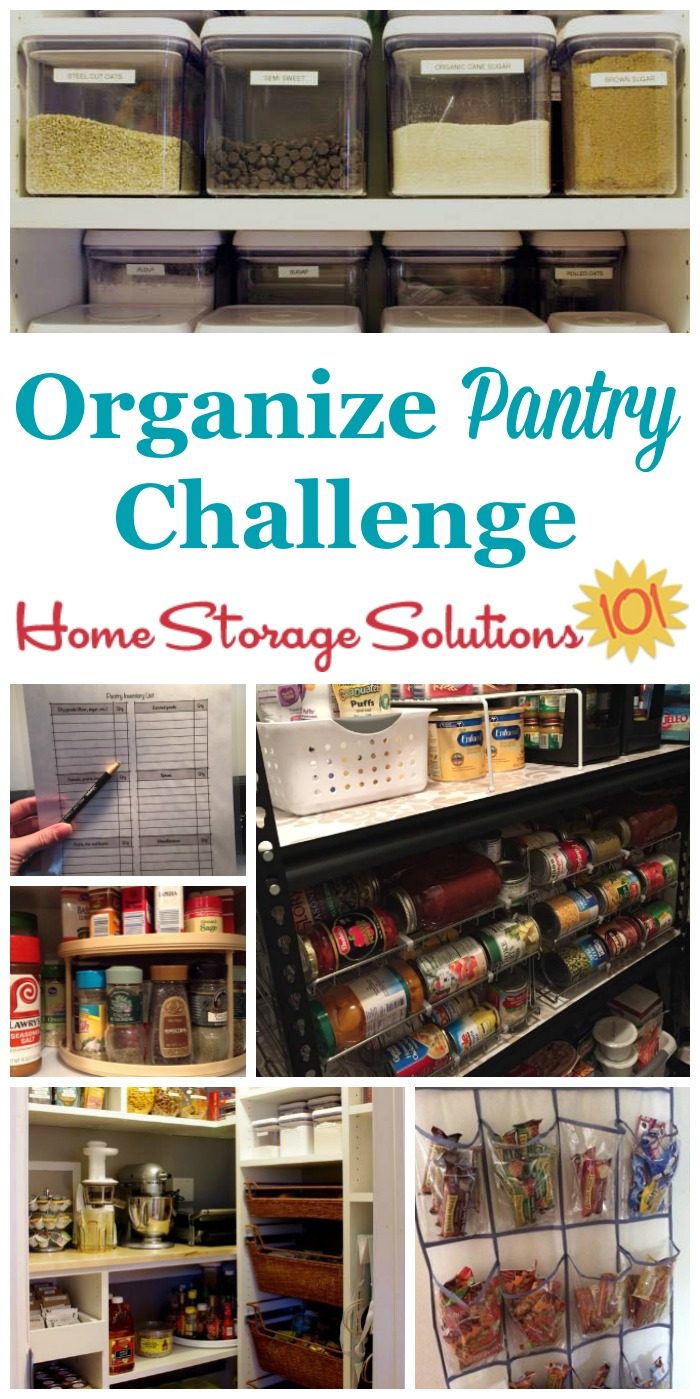 Here are step by step instructions for how to organize pantry or food cupboards in your home, including spices, canned good, and other non-refrigerated food {part of the 52 Week Organized Home Challenge on Home Storage Solutions 101} #PantryOrganization #OrganizedHome #OrganizingTips
