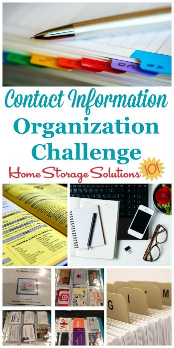 Contact information organization challenge, to organize addresses, phone numbers, directories, and emergency information for easy and quick reference {part of the 52 Week Organized Home Challenge on Home Storage Solutions 101} #OrganizedHome #PaperOrganization #ContactInformation