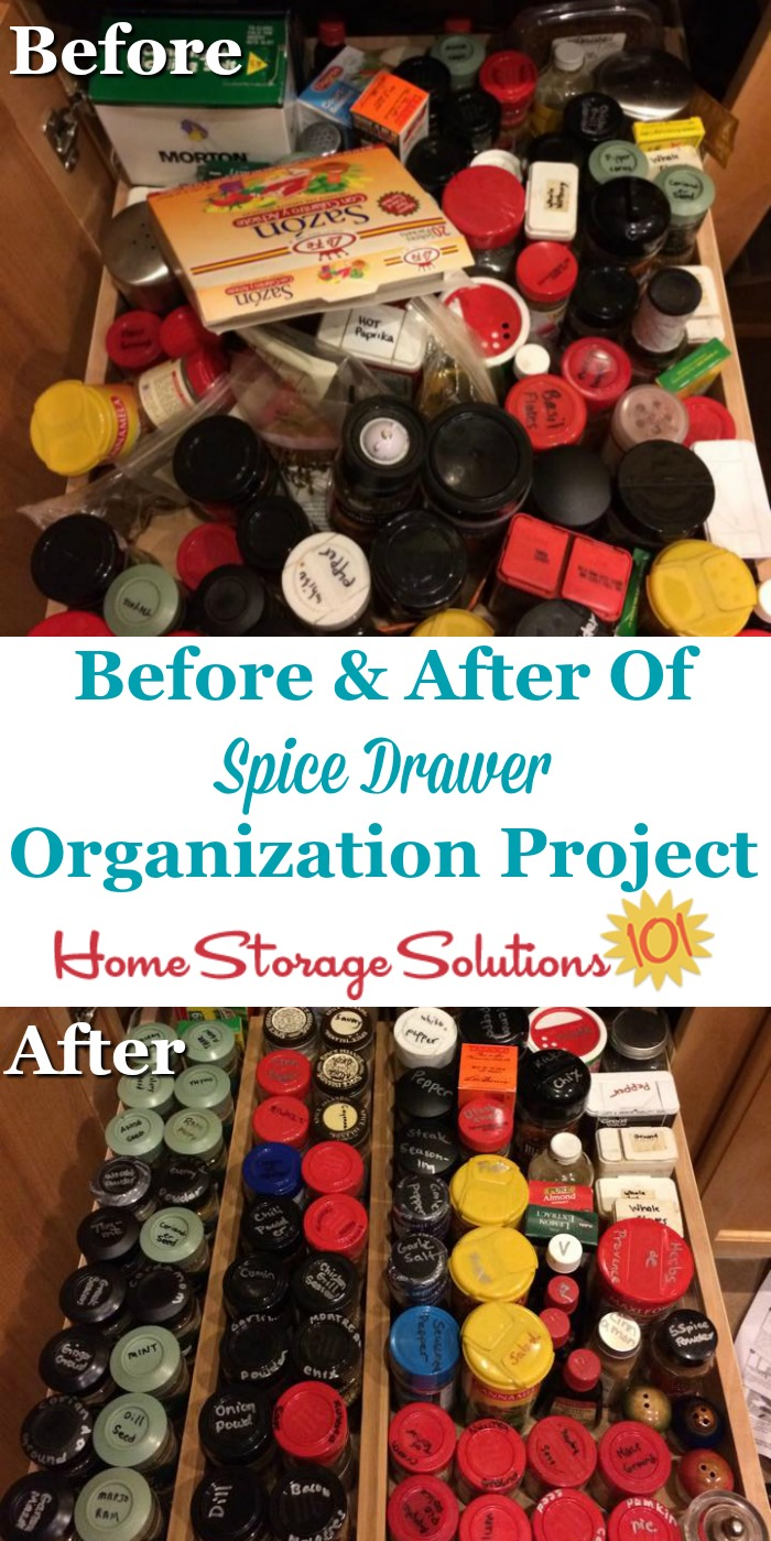 Before and after of spice drawer organization project, to show how adding dividers to the drawer help to keep the spices from shifting, and more organized {on Home Storage Solutions 101} #KitchenOrganization #PantryOrganization #HomeOrganization
