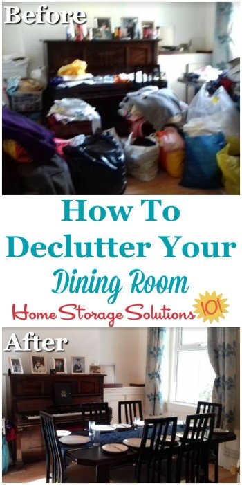 How to declutter your dining room, with simple instructions to follow so you don't get overwhelmed or end up with a bigger mess during the process {on Home Storage Solutions 101} #DeclutterDiningRoom #Declutter365 #Decluttering