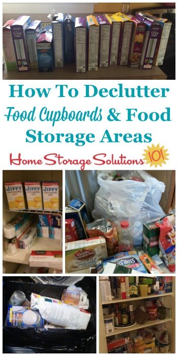 Here are tips for how to #declutter food cupboards and food storage areas in your home, plus photos from readers who've already done this mission to show the results you can achieve {on Home Storage Solutions 101} #PantryOrganization #Decluttering
