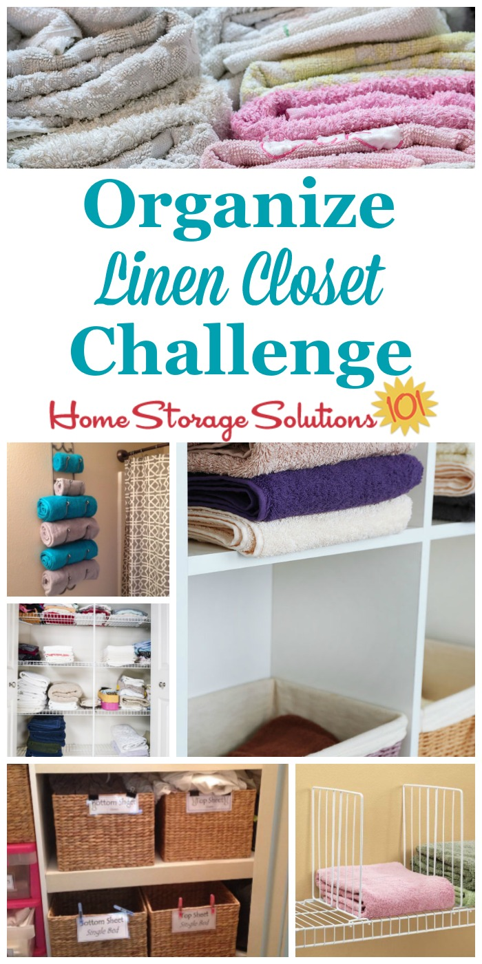 Here are step by step instructions for how to organize your linen closet, including organizing sheet sets, towels, blankets, pillows, and table linens {part of the 52 Week Organized Home Challenge on Home Storage Solutions 101} #LinenClosetOrganization #OrganizeLinenCloset #OrganizingLinenCloset