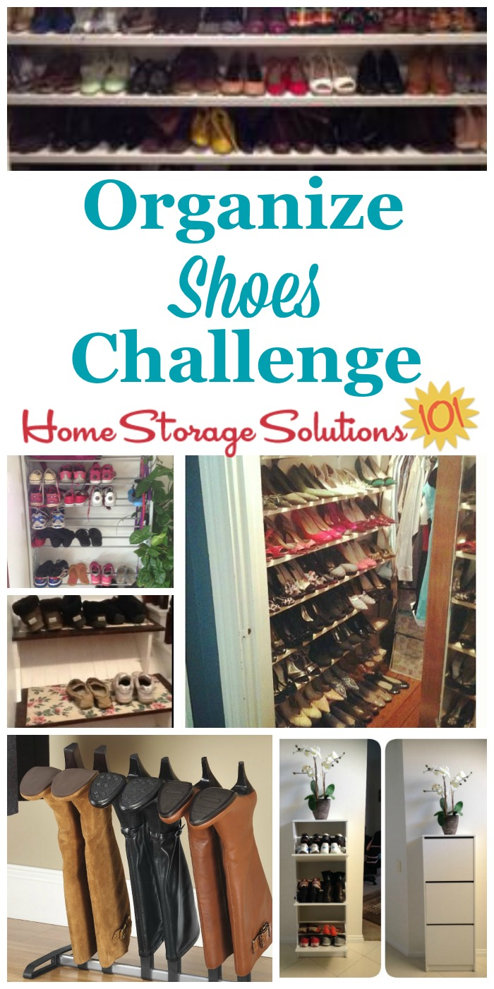 Here are step by step instructions for how to organize shoes and boots for both adults and kids, including in both the bedroom and in the entryway {part of the 52 Week Organized Home Challenge on Home Storage Solutions 101} #OrganizeShoes #ShoeOrganization #OrganizingShoes