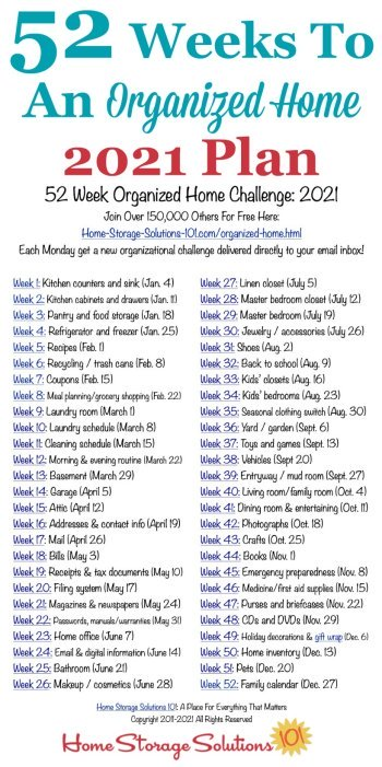 Free printable list of the 52 Weeks To An Organized Home Challenges for 2021. Join over 150,000 others who are getting their homes organized one week at a time! {on Home Storage Solutions 101} #OrganizedHome #Organization #Organized