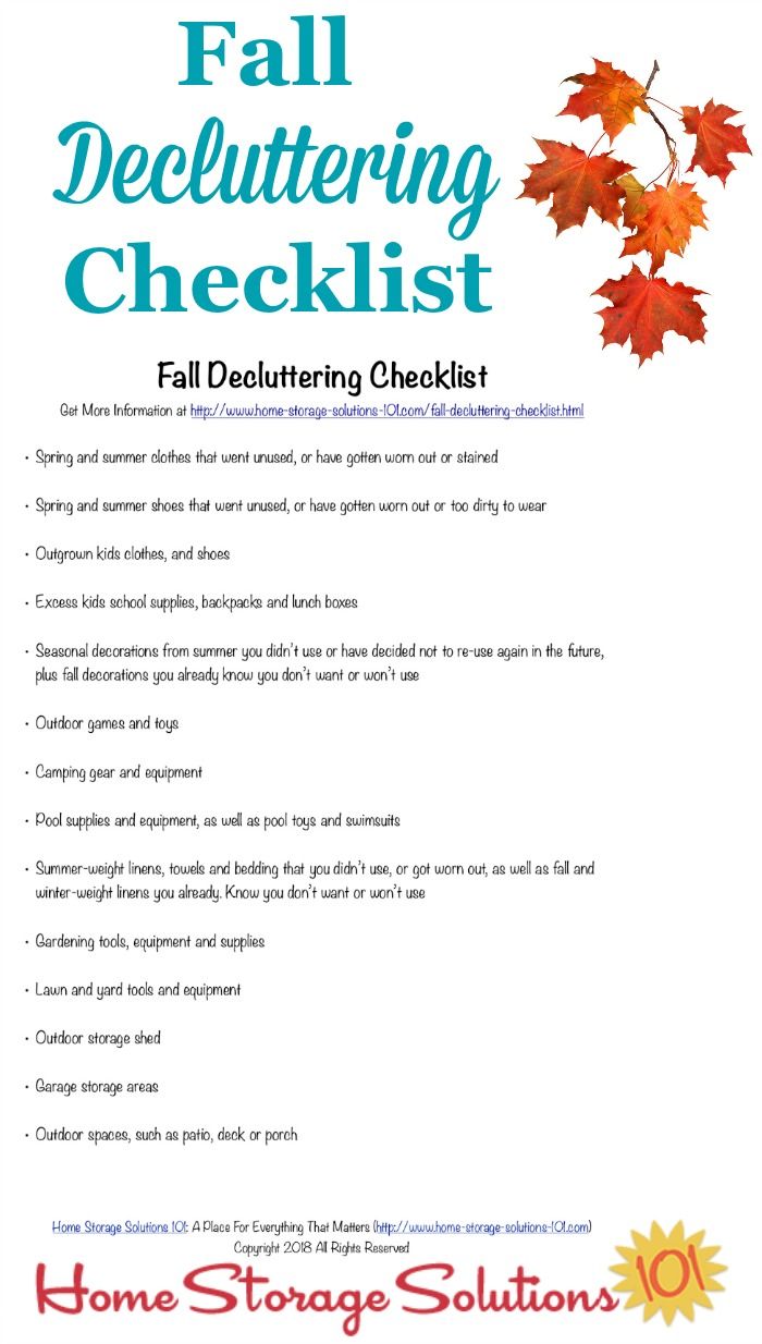 Printable fall decluttering checklist, listing seasonal clutter to get out of your home at the close of summer and beginning of autumn {courtesy of Home Storage Solutions 101} #DeclutteringChecklist #FallChecklist #FreePrintable