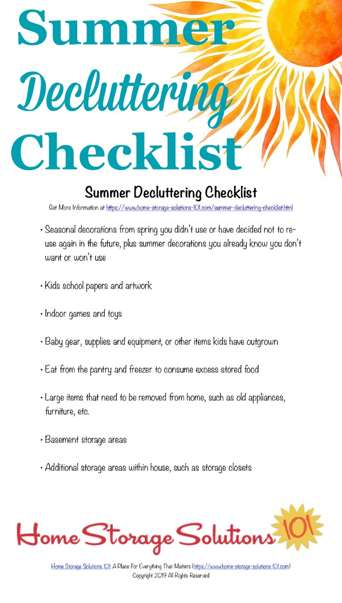 Printable summer decluttering checklist, listing seasonal clutter to get out of your home at the close of spring and beginning of summer {courtesy of Home Storage Solutions 101} #DeclutteringChecklist #SummerChecklist #FreePrintable