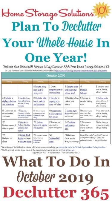 Free printable October 2019 #decluttering calendar with daily 15 minute missions. Follow the entire #Declutter365 plan provided by Home Storage Solutions 101 to #declutter your whole house in a year.