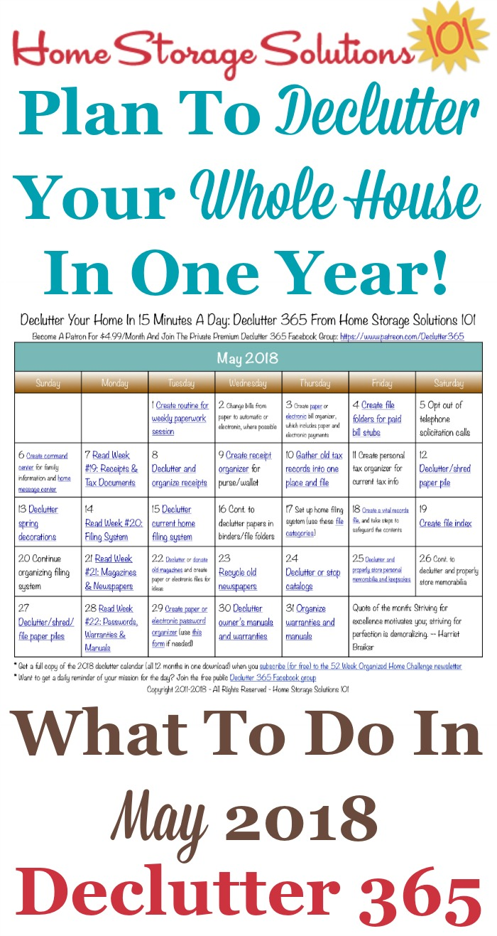 Free printable May 2018 #decluttering calendar with daily 15 minute missions. Follow the entire #Declutter365 plan provided by Home Storage Solutions 101 to #declutter your whole house in a year.