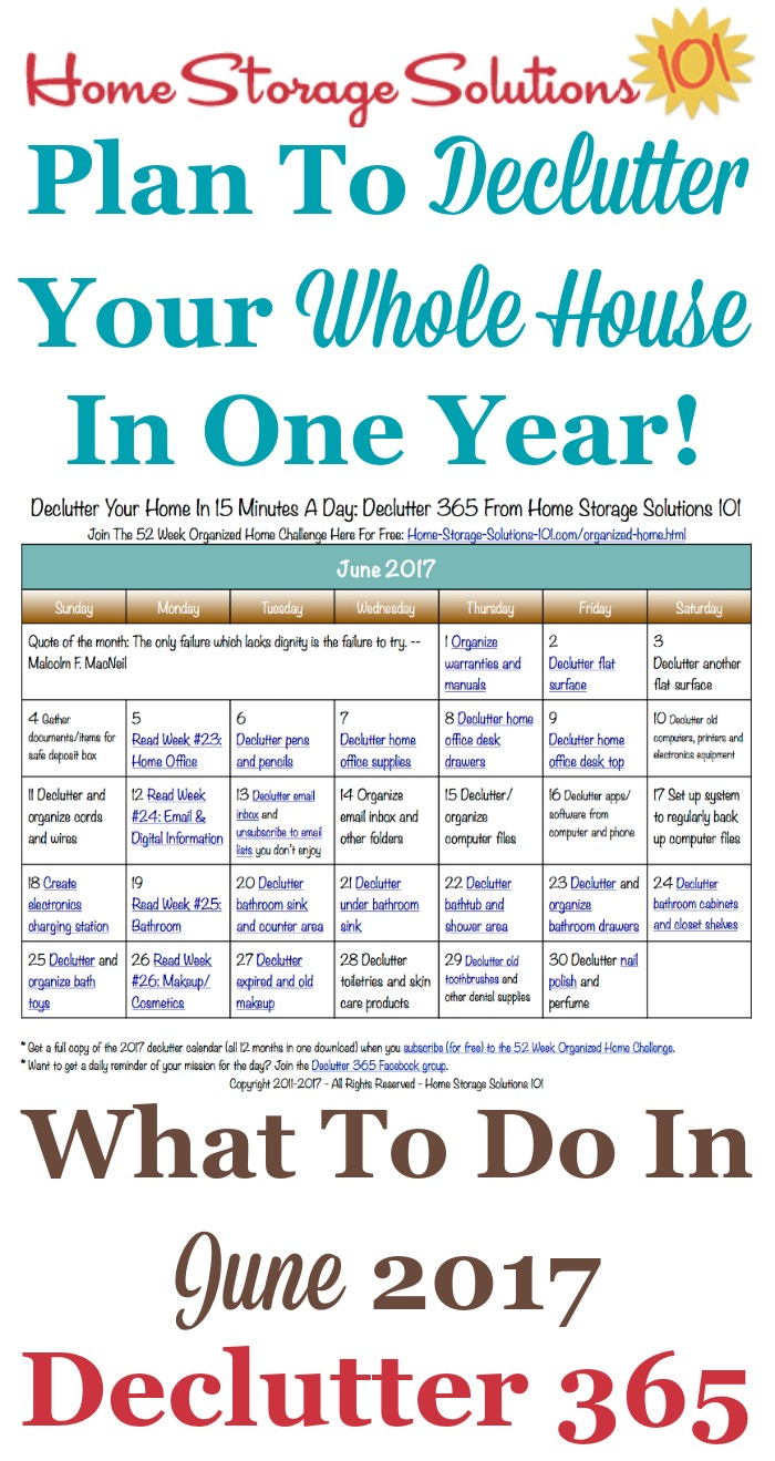 Free printable June 2017 decluttering calendar with daily 15 minute missions. Follow the entire Declutter 365 plan provided by Home Storage Solutions 101 to declutter your whole house in a year.