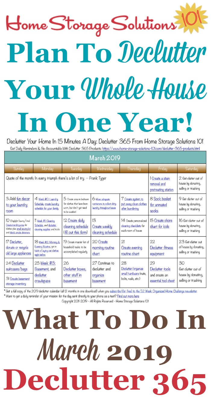 Free printable March 2019 #decluttering calendar with daily 15 minute missions. Follow the entire #Declutter365 plan provided by Home Storage Solutions 101 to #declutter your whole house in a year.