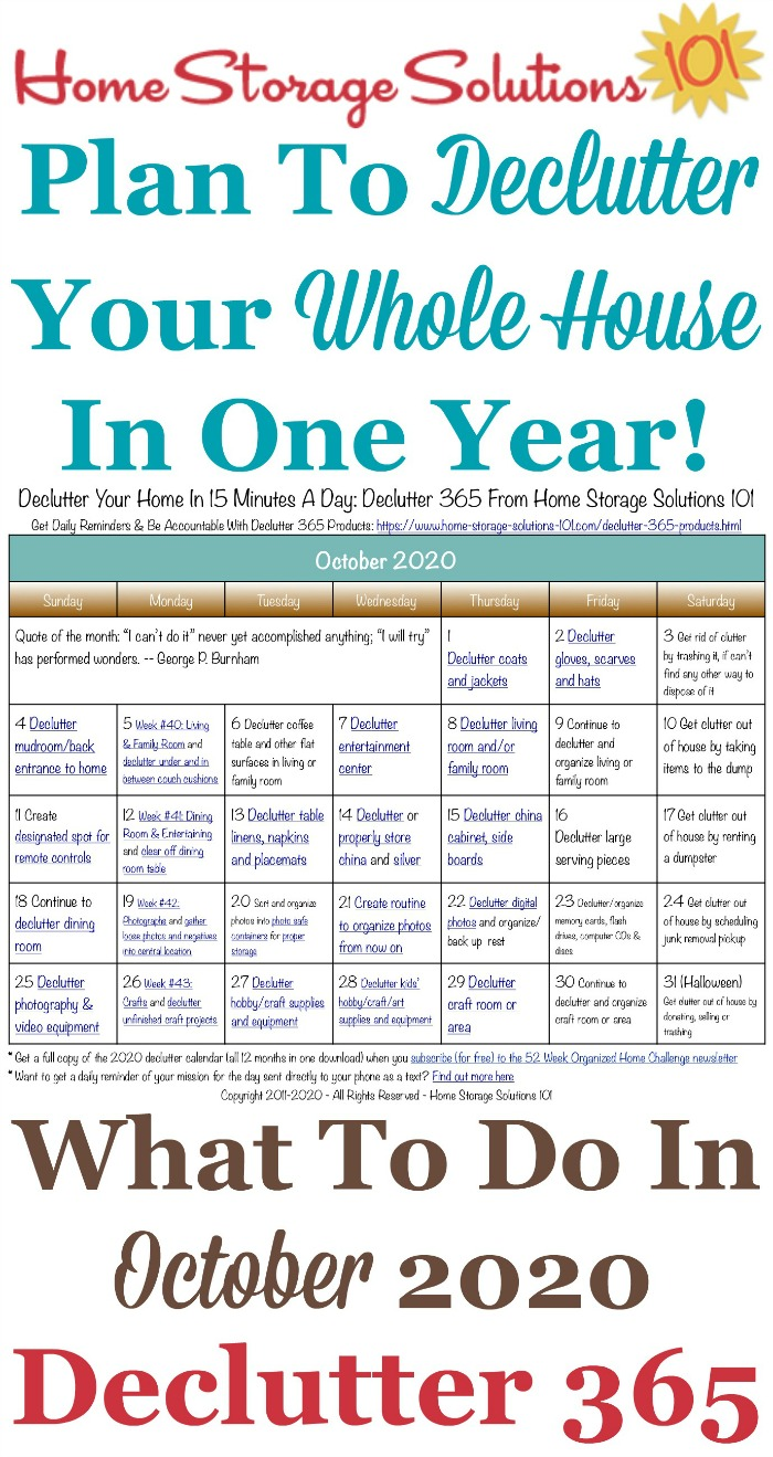 Free printable October 2020 #decluttering calendar with daily 15 minute missions. Follow the entire #Declutter365 plan provided by Home Storage Solutions 101 to #declutter your whole house in a year.