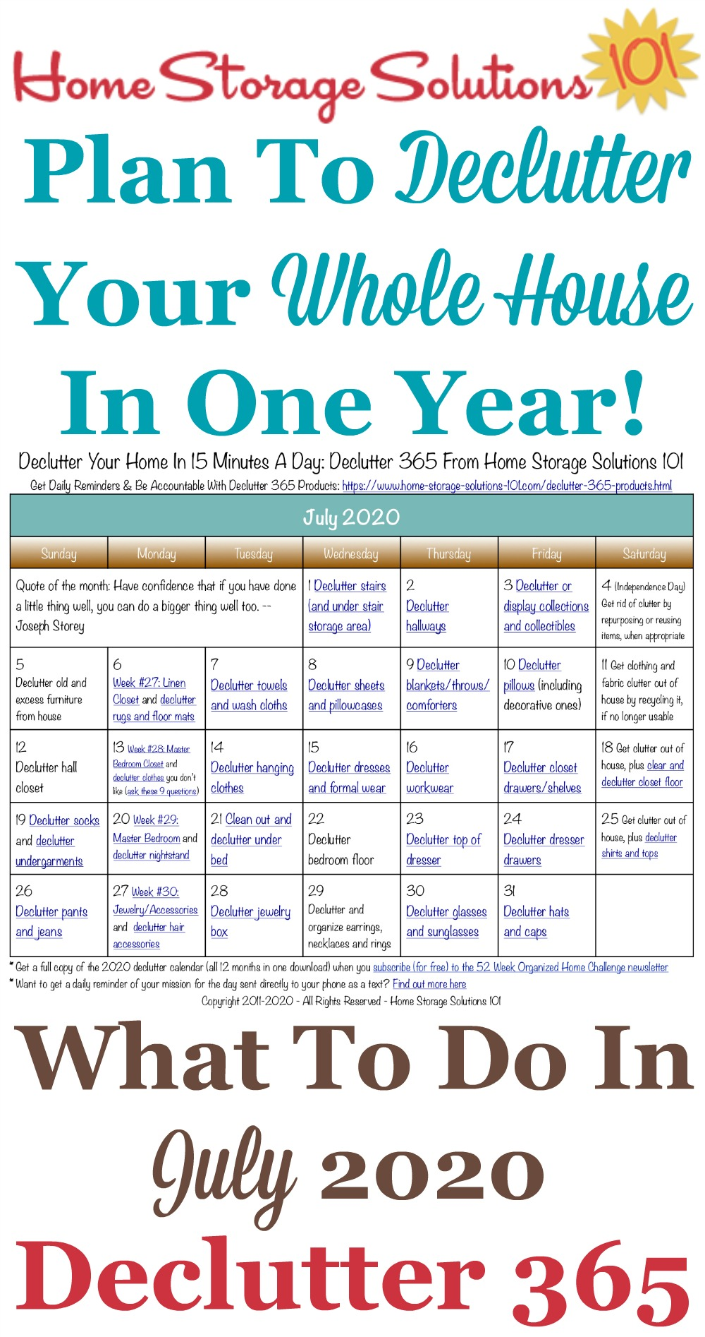 Free printable July 2020 #decluttering calendar with daily 15 minute missions. Follow the entire #Declutter365 plan provided by Home Storage Solutions 101 to #declutter your whole house in a year.