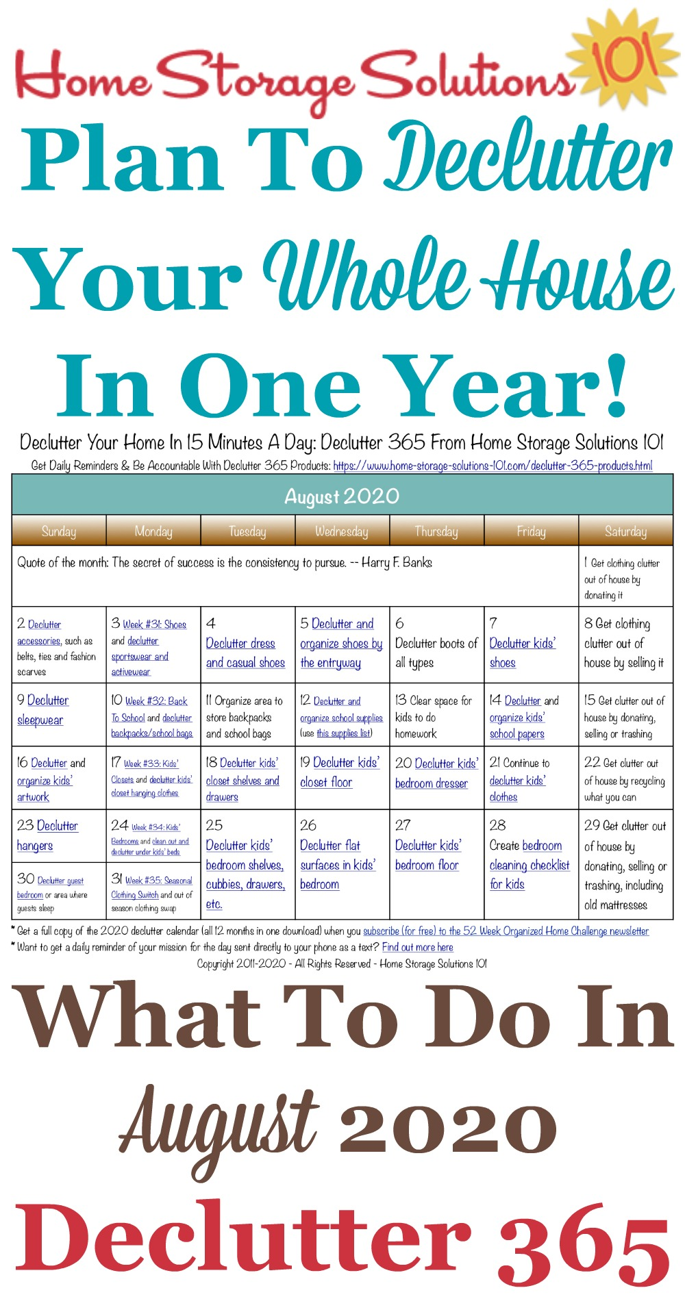 Free printable August 2020 #decluttering calendar with daily 15 minute missions. Follow the entire #Declutter365 plan provided by Home Storage Solutions 101 to #declutter your whole house in a year.