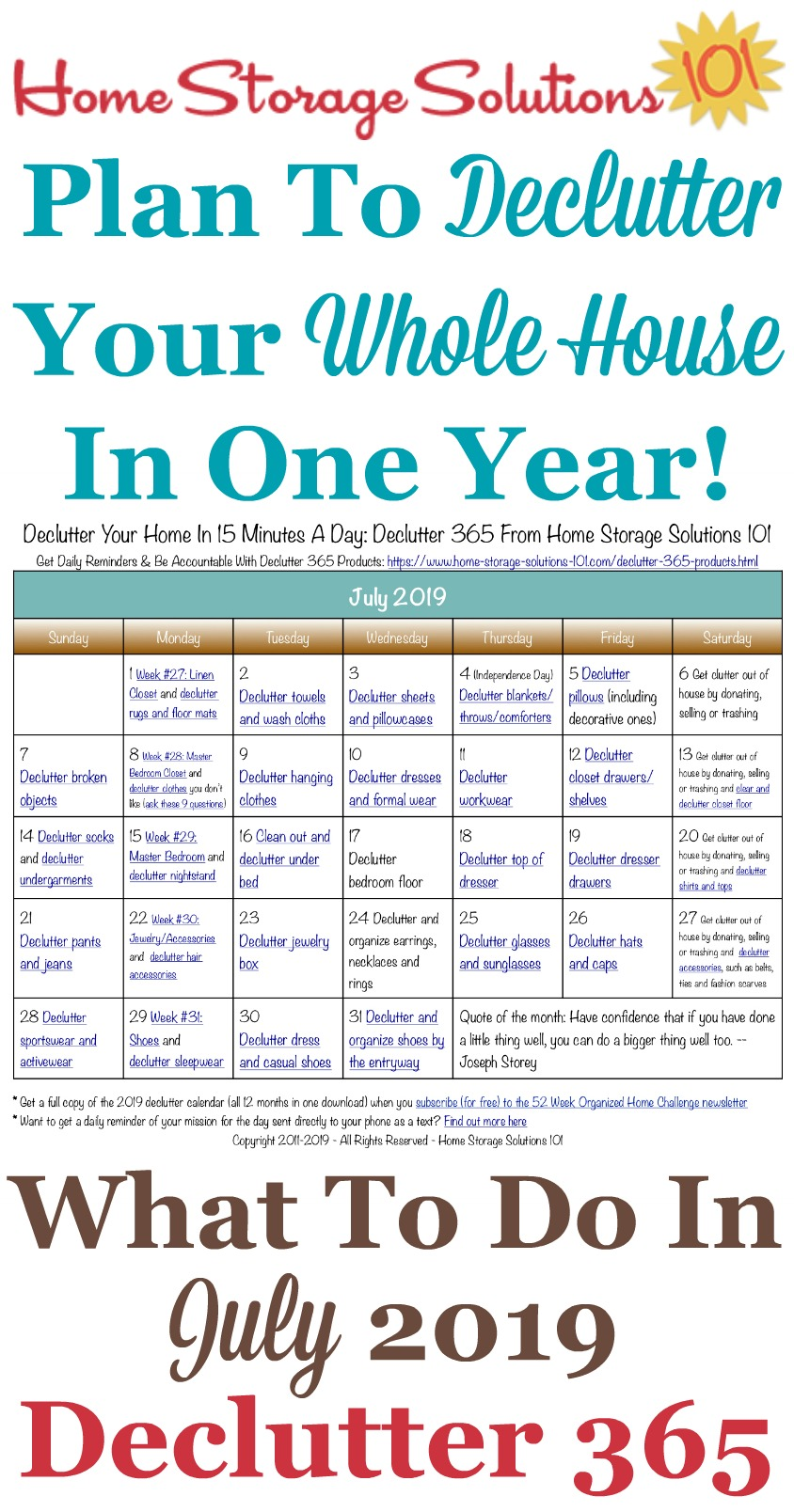 Free printable July 2019 #decluttering calendar with daily 15 minute missions. Follow the entire #Declutter365 plan provided by Home Storage Solutions 101 to #declutter your whole house in a year.