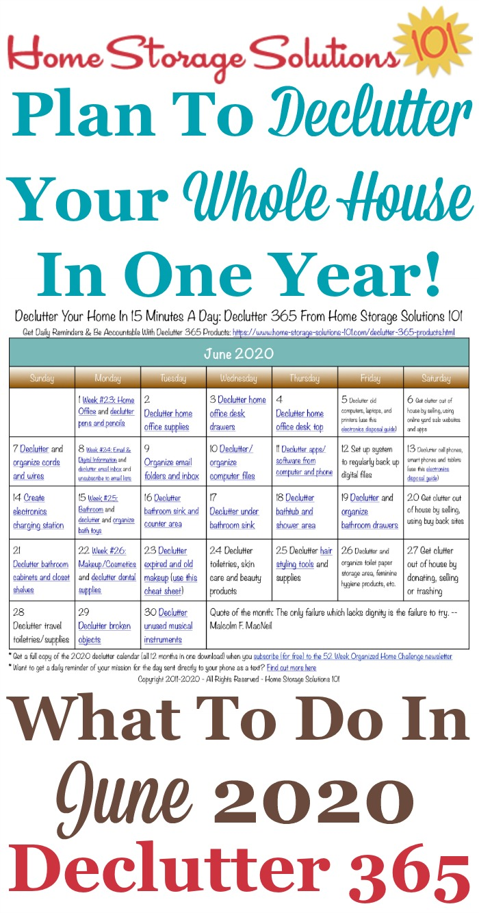 Free printable June 2019 #decluttering calendar with daily 15 minute missions. Follow the entire #Declutter365 plan provided by Home Storage Solutions 101 to #declutter your whole house in a year.