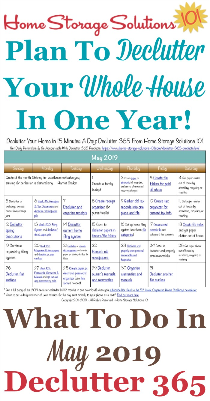 Free printable May 2019 #decluttering calendar with daily 15 minute missions. Follow the entire #Declutter365 plan provided by Home Storage Solutions 101 to #declutter your whole house in a year.