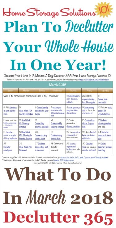Free printable March 2018 #decluttering calendar with daily 15 minute missions. Follow the entire #Declutter365 plan provided by Home Storage Solutions 101 to #declutter your whole house in a year.