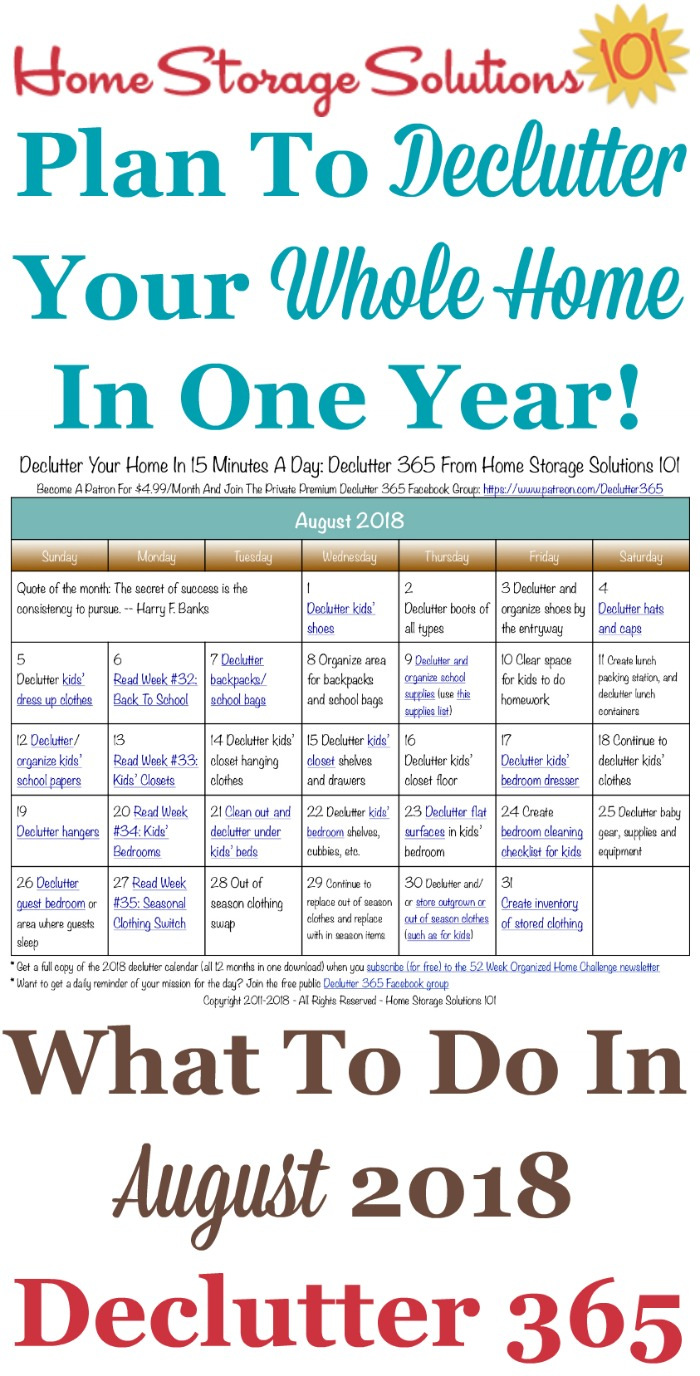 Free printable August 2018 #decluttering calendar with daily 15 minute missions. Follow the entire #Declutter365 plan provided by Home Storage Solutions 101 to #declutter your whole house in a year.