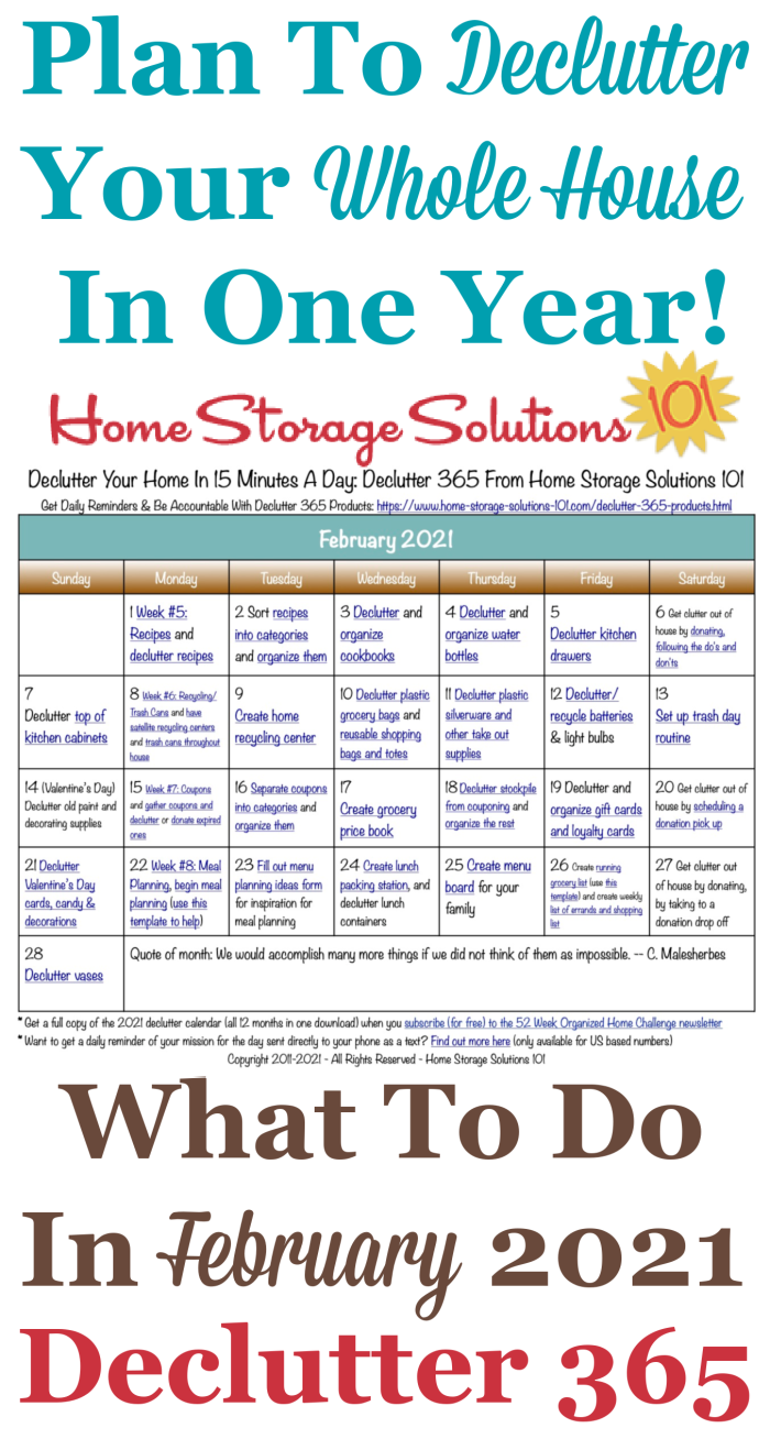 Free printable February 2021 #decluttering calendar with daily 15 minute missions. Follow the entire #Declutter365 plan provided by Home Storage Solutions 101 to #declutter your whole house in a year.