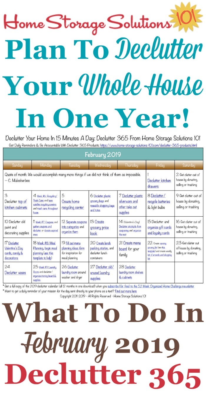 Free printable February 2019 #decluttering calendar with daily 15 minute missions. Follow the entire #Declutter365 plan provided by Home Storage Solutions 101 to #declutter your whole house in a year.