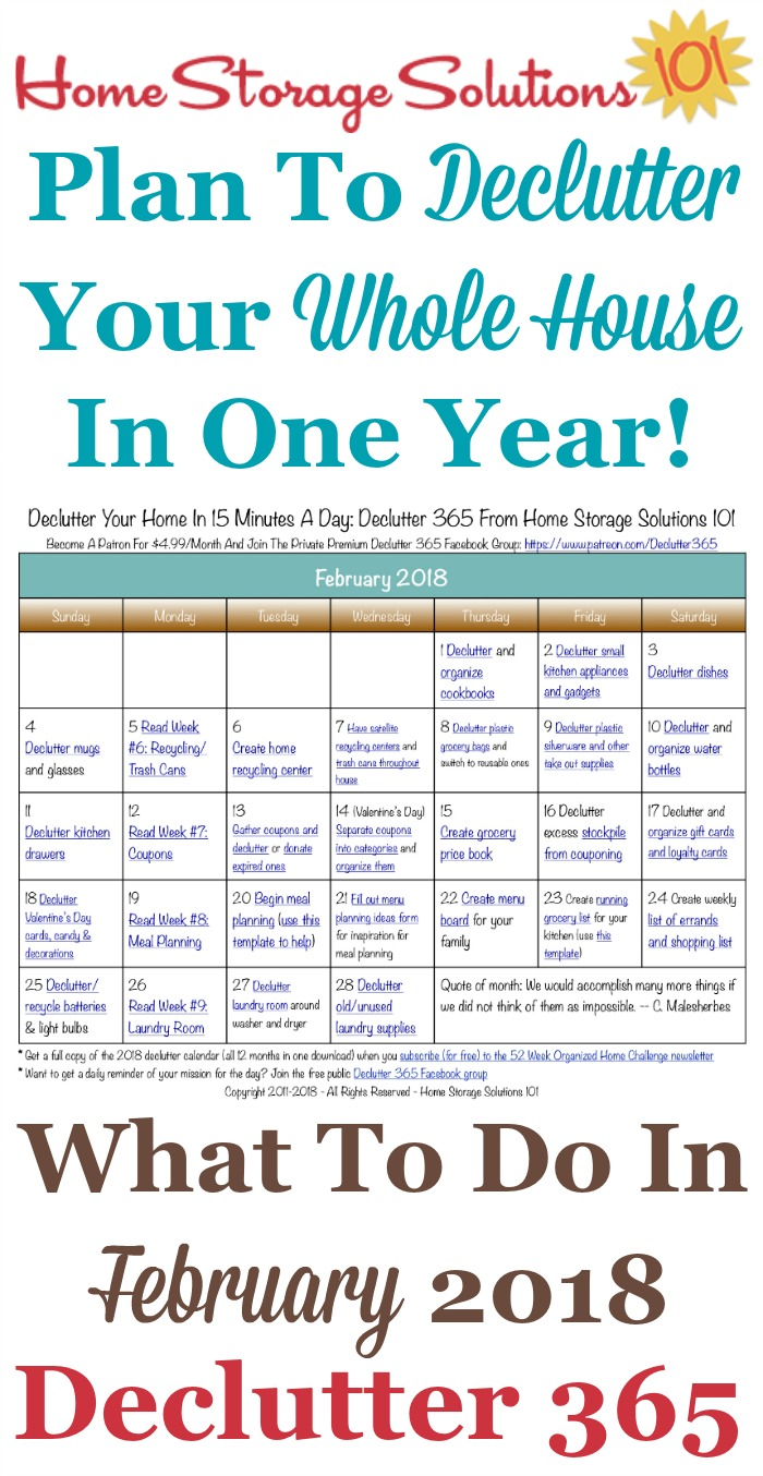 Free printable February 2018 #decluttering calendar with daily 15 minute missions. Follow the entire #Declutter365 plan provided by Home Storage Solutions 101 to #declutter your whole house in a year.
