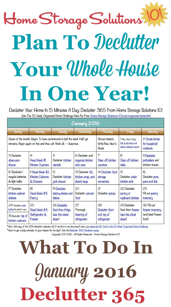 Free printable January 2016 decluttering calendar with daily 15 minute missions. Follow the entire Declutter 365 plan provided by Home Storage Solutions 101 to declutter your whole house in a year.