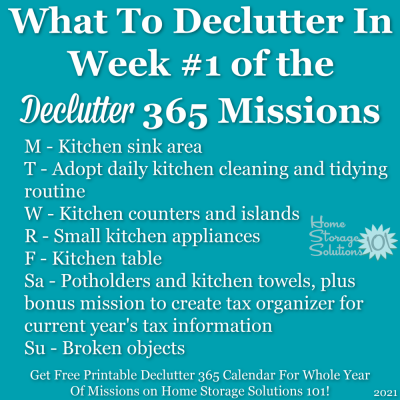 What to declutter in week #1 of the Declutter 365 missions {get a free printable Declutter 365 calendar for a whole year of missions on Home Storage Solutions 101!}