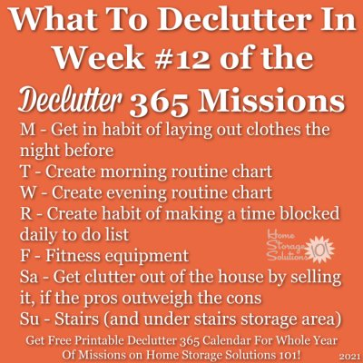 What to declutter in week #12 of the Declutter 365 missions {get a free printable Declutter 365 calendar for a whole year of missions on Home Storage Solutions 101!}