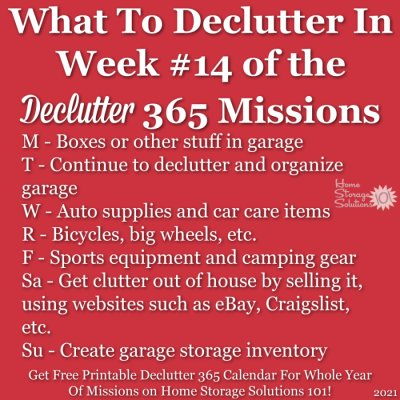 What to declutter in week #14 of the Declutter 365 missions {get a free printable Declutter 365 calendar for a whole year of missions on Home Storage Solutions 101!}