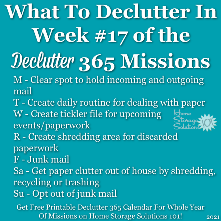 What to declutter in week #17 of the Declutter 365 missions {get a free printable Declutter 365 calendar for a whole year of missions on Home Storage Solutions 101!}