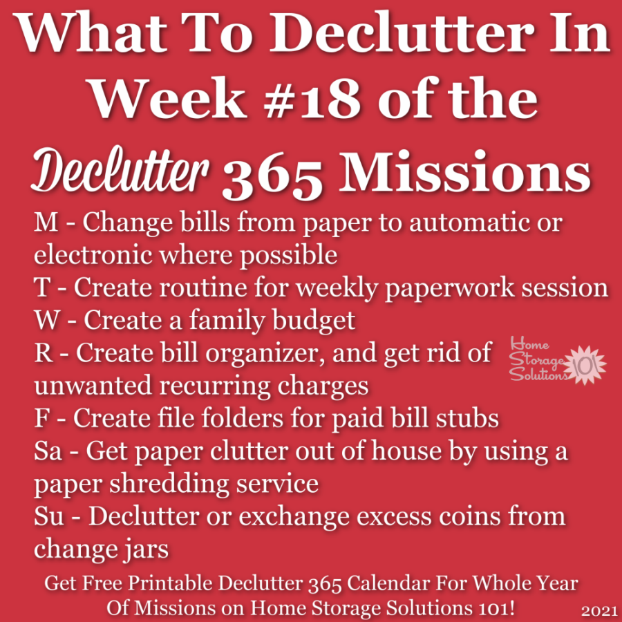 What to declutter in week #18 of the Declutter 365 missions {get a free printable Declutter 365 calendar for a whole year of missions on Home Storage Solutions 101!}