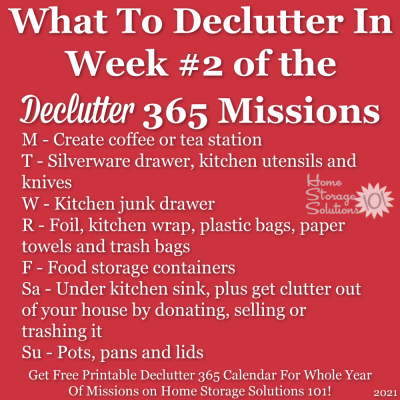 What to declutter in week #2 of the Declutter 365 missions {get a free printable Declutter 365 calendar for a whole year of missions on Home Storage Solutions 101!}
