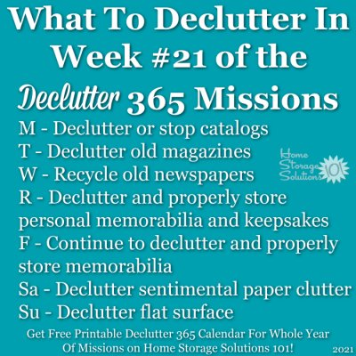 What to declutter in week #21 of the Declutter 365 missions {get a free printable Declutter 365 calendar for a whole year of missions on Home Storage Solutions 101!}