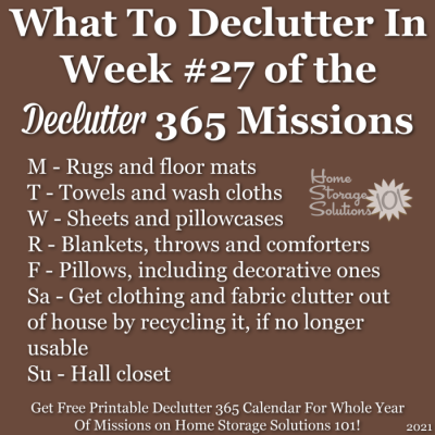 What to declutter in week #27 of the Declutter 365 missions {get a free printable Declutter 365 calendar for a whole year of missions on Home Storage Solutions 101!}