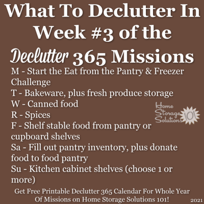 What to declutter in week #3 of the Declutter 365 missions {get a free printable Declutter 365 calendar for a whole year of missions on Home Storage Solutions 101!}