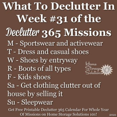What to declutter in week #31 of the Declutter 365 missions {get a free printable Declutter 365 calendar for a whole year of missions on Home Storage Solutions 101!}
