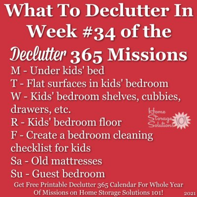 What to declutter in week #34 of the Declutter 365 missions {get a free printable Declutter 365 calendar for a whole year of missions on Home Storage Solutions 101!}