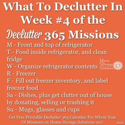 What to declutter in week #4 of the Declutter 365 missions {get a free printable Declutter 365 calendar for a whole year of missions on Home Storage Solutions 101!}