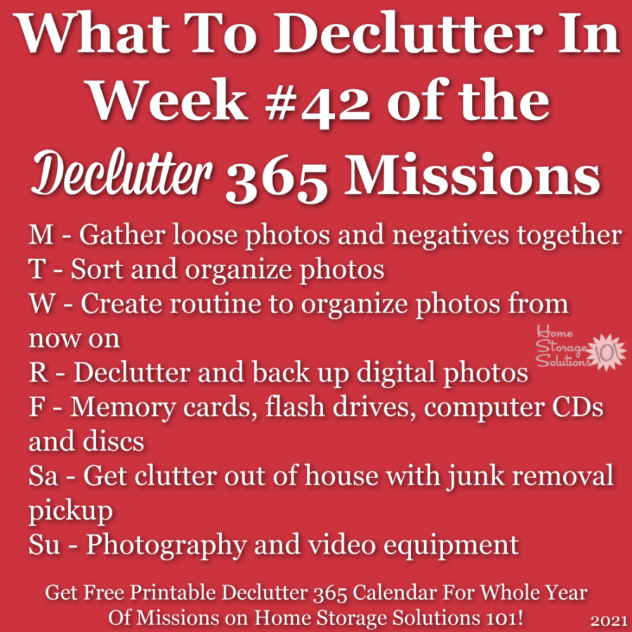 What to declutter in week #42 of the Declutter 365 missions {get a free printable Declutter 365 calendar for a whole year of missions on Home Storage Solutions 101!}