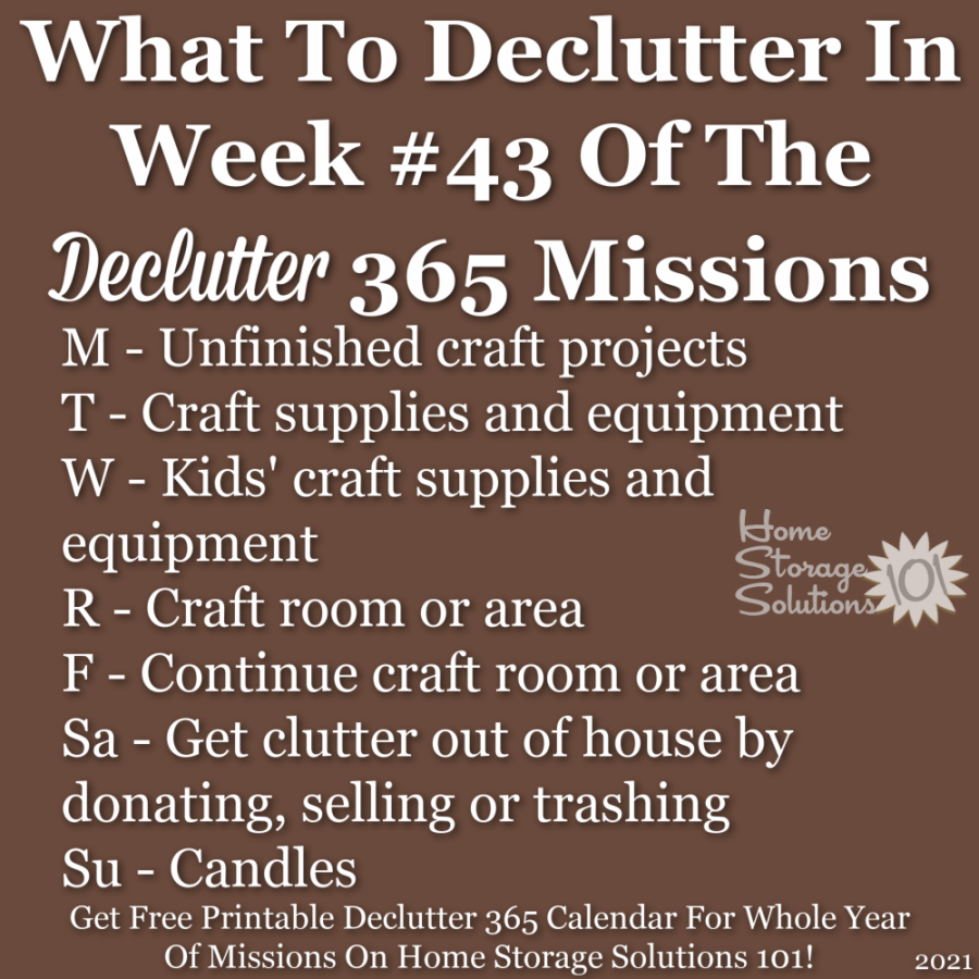 What to declutter in week #43 of the Declutter 365 missions {get a free printable Declutter 365 calendar for a whole year of missions on Home Storage Solutions 101!}