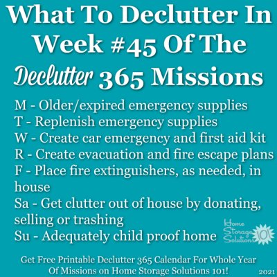 What to declutter in week #45 of the Declutter 365 missions {get a free printable Declutter 365 calendar for a whole year of missions on Home Storage Solutions 101!}
