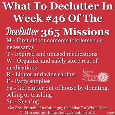 What to declutter in week #46 of the Declutter 365 missions {get a free printable Declutter 365 calendar for a whole year of missions on Home Storage Solutions 101!}