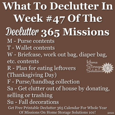 What to declutter in week #47 of the Declutter 365 missions {get a free printable Declutter 365 calendar for a whole year of missions on Home Storage Solutions 101!}